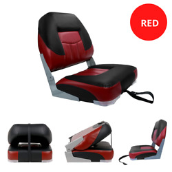 Low Back Boat Seat Chair Fold-down Pontoon Fishing Boating Seat Red / Black