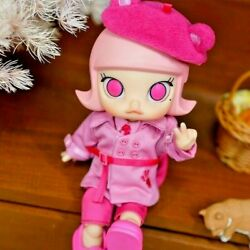Molly X Pink Panther Bjd Doll Action Figure Pleasant Gift Pop Mart New Girl Toy