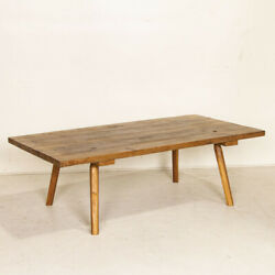 Large Rustic Antique Plank Wood Coffee Table With Splay Peg Legs