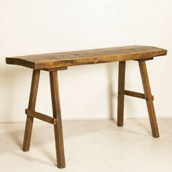 Antique Rustic Slab Top Console Table With Splay Legs From Hungary