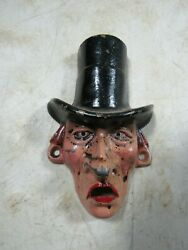 Vintage 1930s/40s Wilton Products Cast Iron Bottle Opener Stove Pipe Hat Man