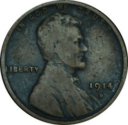 1914-d Lincoln Wheat Penny Choice Fine Condition Key Date