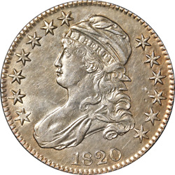 1820 Bust Half Dollar Square Base No Knob And0392and039 Lg. Date Au/bu Details 0-106 R.1
