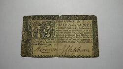 1770 8 Annapolis Maryland Md Colonial Currency Note Bill Revolutionary War Rare