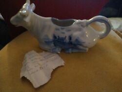 Vintage Marked 1391 Germany. Blue And White Farm Scene Cow Creamer