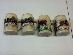Vintage Set Of 4 Budweiser Champion Clydesdale Bud Stein/mug Best Usable Ones