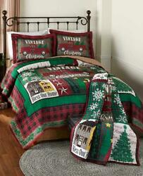 Vintage Down Home Holiday Seasonal Christmas Quilted Bedroom Ensemble