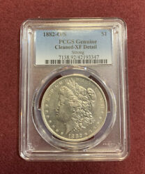 1882-o/s Morgan Silver Dollar Pcgs Genuine Cleaned-xf Detail Strong