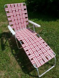 New Vintage Aluminum Webbed Folding Beach Lawn Chair Chaise Lounge Red And White