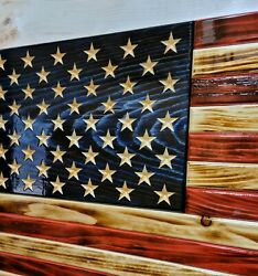 American Flag Translucent Wooden Rustic Handcrafted