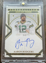 2020 Panini National Treasures Aaron Rodgers On Card Auto 2/5 Personalized Ssp