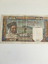 Algeria 1941 100 Francs - World Currency Ww2 Circulated Good Condition