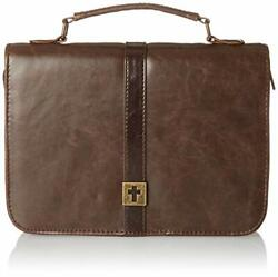Large Brown Faux Leather Bible Cover Distressed Look W/cross Badge 7x10x1 7/8