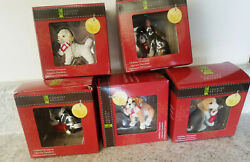 Lot Of 5 - 4 Dog And 1 Cat Christmas Holiday Ornament Enesco 2013 Ornaments