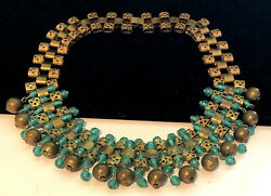 Rare Vintage Early Miriam Haskell Gilt Green Glass 16x2 Dangle Necklace A23