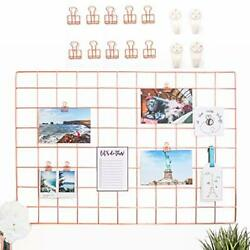 Rose Gold Wire Wall Grid With 10 Rose Gold Metal Clips And 4 Hooks 25.6x17.7