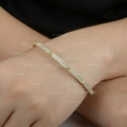 Solid 14k Yellow Gold Natural Si G-h Diamond Tiny Spike Delicate Bangle Gift