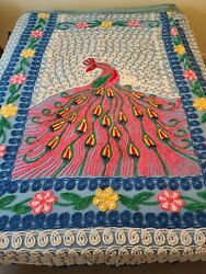 Vintage Chenille Peacock Full/queen Bedspread Blue Pink Yellow Green Cutter