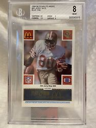 Jerry Rice 49ers 1986 Mcdonalds Rookie Card 80 Blue Tab Bgs 8 Very Low Pop