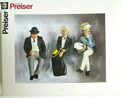 Preiser G Scale 122.5 Three Old Time Seated Figures 45055 -- Clothes Color 4