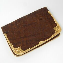 And Co. 18 Kt Gold Victorian Elephant Leather Calling Card Wallet A3905
