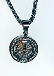 Bible Prayer Cz Stainless Steel Reversible Coin Silver Tone Pendant Necklace