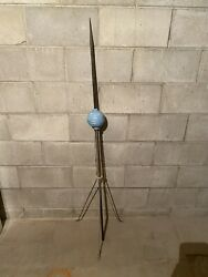 Antique 59 In. Copper Lightning Rod W/iron Stand And Blue Glass Ball Bulb