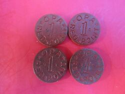 Token Opa Red Point Ww2 Era Ration X-u And Y-v Lot Of 4 Fiber Tokens 1