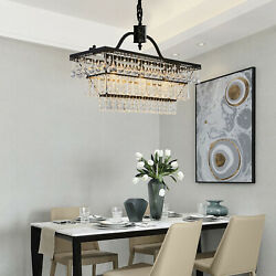 Farmhouse Antique Bronze Rectangle Crystal Ceiling Light Dining Room Lamp