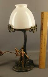 Antique Austrian Bronze Vienna Cold Painted Figural Hunter Table Lamp Marked