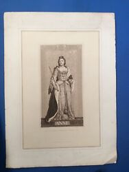 Queen Anne - Superb Fine Engraving From The Statue At Blenheim House By. Antique