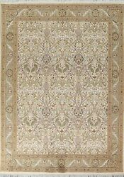 Vegetable Dye Wool/ Silk Ardakan Oriental Area Rug Hand-knotted 8and039x10and039 Ft Ivory
