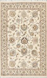 Vegetable Dye Ivory Floral Tebriz Oriental Hand-knotted Area Rug 4and039x6and039 Carpet