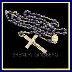 Antique Victorian Rosary French 18k Gold Garnets Crucifix Cross Madonna 7009