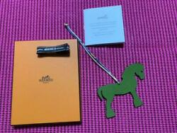 Hermes Accessory New Unused Petit Ash Pony Green Black Size 10 × 8㎝ With Box