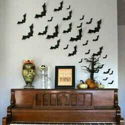 Lot Halloween 3D Bat Wall Decals Party Scary Spooky Black Decoration Stickers US