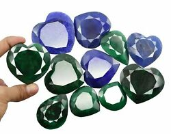 Easter Offer 4210 Ct Natural Green Emerald And Blue Sapphire Gemstone Big Lot