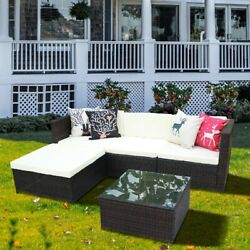 5pcs Patio Pe Wicker Furniture Set Outdoor Rattan Sectional Sofa Chair Table New
