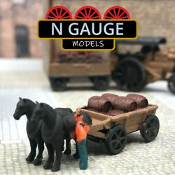 N Scale Gauge Horse And Cart - Distillery Brewery / Barrels1148 Freight Old 1160