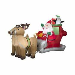 Gemmy 36855 Santa With Sleigh And Reindeer Christmas Inflatable 5 Ft Tall X 8...