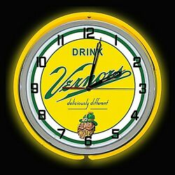 19 Vernors Deliciously Different Ginger Ale Sign Yellow Double Neon Clock
