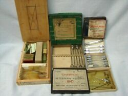 Early Vintage Lot Pharmaceutical Veterinary And Hypodermic Needles Slides And