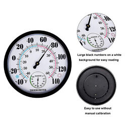 9.84inch Round Wall Thermometer Meter Indoor Garden Home Humidity Hygrometer