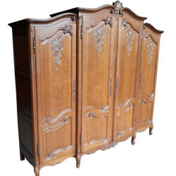 Antique French Provincial Armoire Oak Large 1940and039s Storage Value