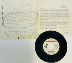 Johnny Cash Ray Cash Signed Autograph Unreleased 45 And Personal Letters Jsa Loa