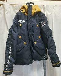 Avirex Green Beret Mountain Parka Hooded Down Jacket Size L Navy/yellow Used