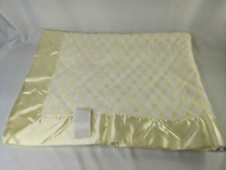Vintage Quilted Yellow Baby Blanket Satin Edge 36 X 50