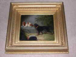 Large Antique King Charles Spaniel And Terrier Dog Oil Painting G Armfield 1870