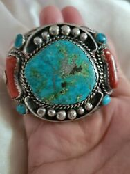 Old Pawn Turquoise And Coral Sterling Silver Cuff Bracelet