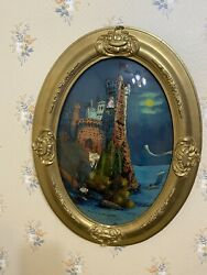 Vtg Antique Painting In Vintage Oval Frame Bubble Glass Castle In Belgium